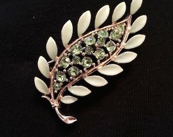 Lisner Rhinestone Leaf Brooch / Pin
