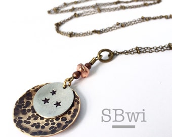 Nashville necklace in bronze and pewter with copper detail
