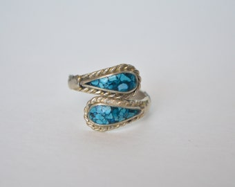 Vintage Silver Faux Turquoise Adjust Ring Size 8