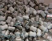 White Chrome  2-Hole CoCo Horizontal Beads (50)