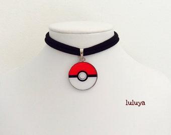 Black Handmade Stretch Choker Necklace Pokemon  Pokeball Charm Gift Birthday Favor