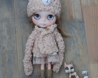 FOR ORDER/ Bear hat+sweater for Blythe doll