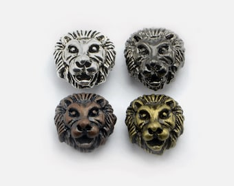 12pcs Lion Head Beads in Assorted Colors, 3 Colors of Each Plating, Animal, Zoo, Tiger Beads, Side Drilled Metal Beads #SD-S7738