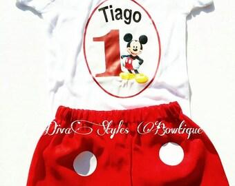 Mickey Mouse Birthday Set, Mickey Mouse Birthday Outfit, Mickey Birthday Shirt, Mickey Shorts, First birthday Outfit, First Birthday Set