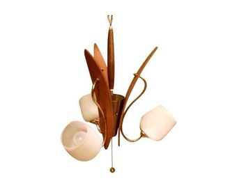 Mid-century Tulip walnut wood chandelier pendant lamp