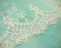 Ivory Lace Trim, Beaded Lace Trim, Floral Lace Fabric, Vintage Flower Lace Trim, 7.5 inches Wide for Veilling, Costume, Craft Making 1 Yard