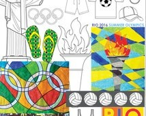 Kids Summer Games 2016 Bumper Art & Craft Activity Pack. Brazil Olympics colouring sheets. Torch, medals.  Instant download 41 pages