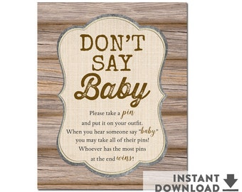 """Instant Download • Rustic Don't Say Baby Game Sign 8x10"""" Game Printable,  Boy Baby Shower Games • No.709BROWN"""