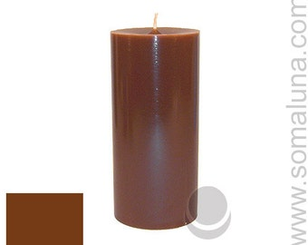 3 x 6.5 Brown Classic Hand-poured Unscented Pillar Candles Solid Color