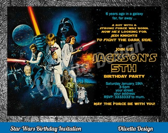 Star Wars Birthday Invitation - Star Wars Invitation Birthday - Star Wars Party Invite - Star Wars Birthday Party Printable Episode 4