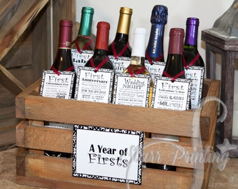 Bridal Shower Wine Crate Gift Set with 8 tags and shower card (wine not included) Wedding Milestones