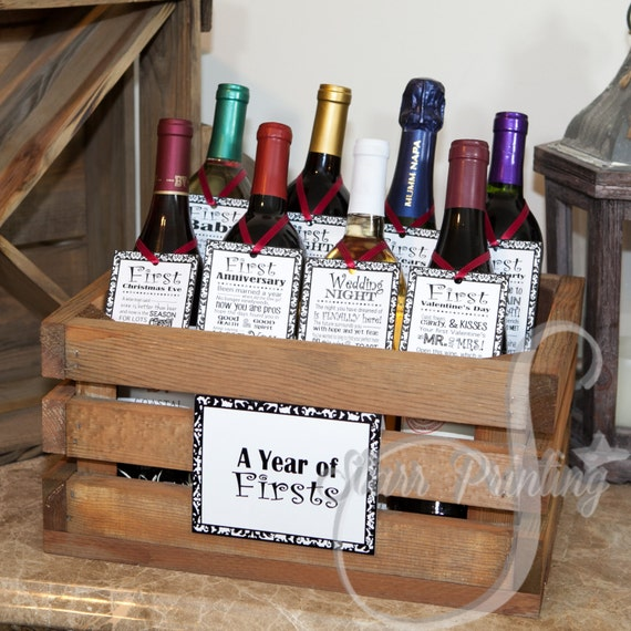 Wedding Wine Bottle Gifts: Bridal Shower Wine Crate Gift Set With 8 Tags And Shower Card