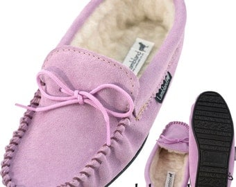 Ladies / Womens Lilac Genuine Suede  Moccasin Slippers with PVC Sole