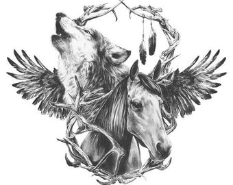 Wolf & Horse - Temporary tattoo
