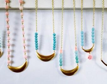 Vintage Brass Crescent Necklaces