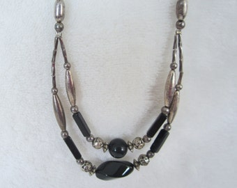 """Art Deco' Festoon Black & Silvered Glass Bead Necklace-1930's -1940's elegant piece, is 20"""" long. A lovely vintage accessory and great gift!"""