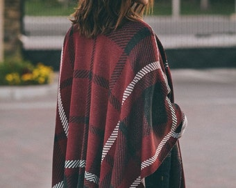 Nobleman - plaid poncho, shawl, cape, womens