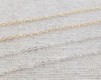 Chain Necklace - Sterling Silver or Gold Filled Plain Chain - Replacement Chain - Necklace Only