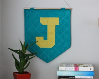 The Quilted Wall Hanging - Mustard + Teal - Personalize Your Letter or Symbol