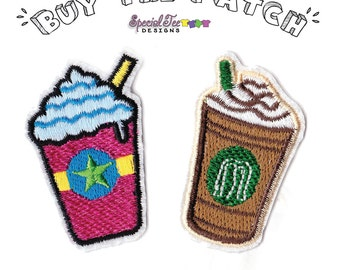 Drink, Coffee, Latte, Smoothie, Patch, Set, Applique, Iron, on,sewn,DIY, starbucks, imitation, for, hoodies, shirts, crafts, Embroidered