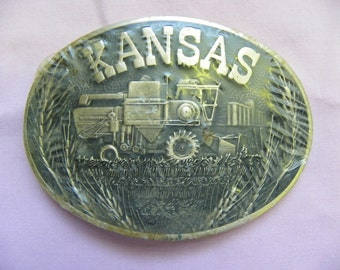 Vintage • Kansas Tractor Country Western Belt Buckle | America | Made in USA