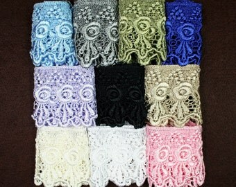 3 Inches -- White or Ivory Pink Blue  Floral Pattern  Venice Lace Trim Guipure  Craft DIY Supplies Sewing Notions UB11491