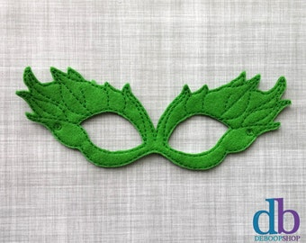 Felt Embroidered Mask - Poison Ivy Mask - Kid & Adult - Creative Play - Halloween Costume