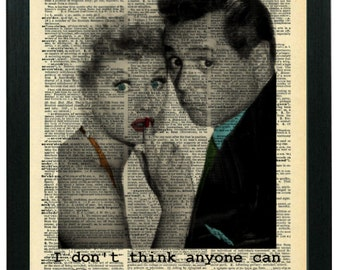 1950s I Love Lucy: Lucille Ball, Desi Arnaz Old Hollywood Photo Partially Colorized, Printed On Vintage Dictionary Book Page, Collectible!