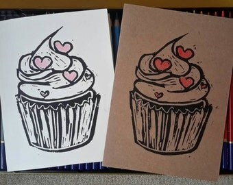 Greeting Card - Blank Note  Card - Cupcake - Love - Happy Birthday - Linocut - 5x7
