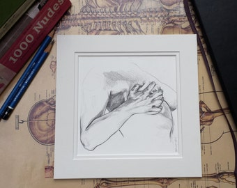 Figure Study, Original Figurative Drawing, Matted for 8x8 Frame, Square