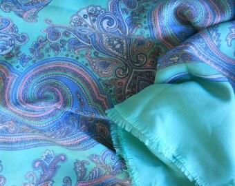 Paisley Wrap, Turquoise Shawl, Large Square Scarf