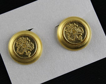 Military Gold Button Clip Earrings, J195