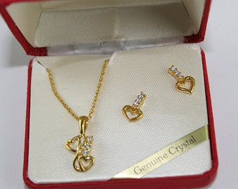 Gold and Crystal Heart Necklace and Earring Set, J209