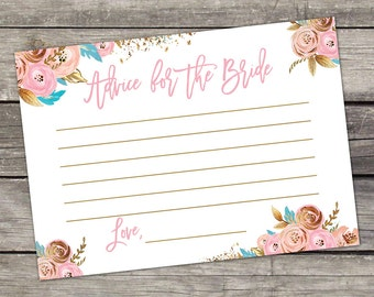 Pink and Gold Advice for the Bride Cards - Bridal Shower Favors - Watercolor Floral - Instant Download Bridal-156