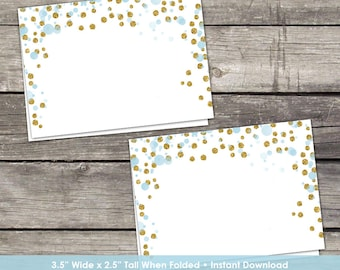Blue and Gold Labels or Cards - Place Cards - Boy Baby Shower- Blank Folded Cards - Baby-249