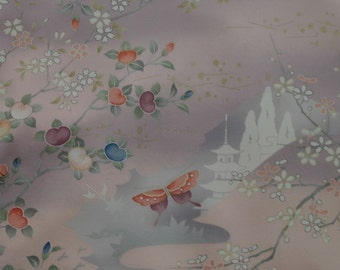Vintage Japanese Silk Kimono Fabric Temples and Butterflies