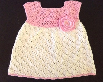 Pretty Pink & White Crocheted Cotton Baby Dress Size 6 to 12 Month
