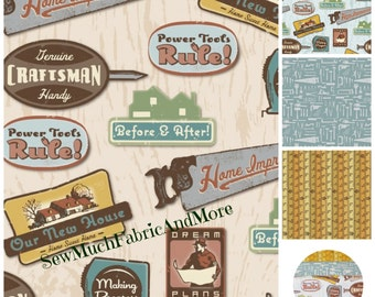 Hammer & Nails Fabric~by the 1/2 yd~Vintage Craftsman Logos~Tools~Tape Measure~4 designs~Peter Horjus~Blend Fabrics