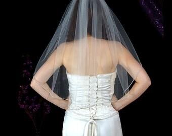One tier rhinestone edged wedding veil, Bridal veil, rhinestone veil, one tier veil, Wedding veil, tulle veil,