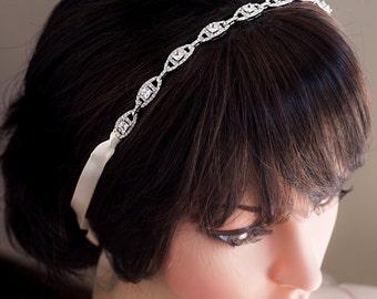 Wedding Bridal Headband, Vintage Inspired Rhinestone Ribbon Bridal Headband Wedding Head band, Wedding Bridal Hair Accessories