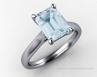 Emerald Cut Aquamarine 14K White Gold Solitaire Engagement Ring