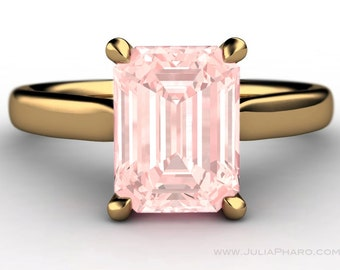Emerald Cut Morganite 14K Yellow Gold Solitaire Engagement Ring