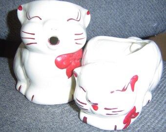"Vintage ""Chubby Kitty"" Creamer  Sugar bowl"