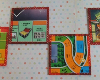 Upcycled Board Game Coaster Set