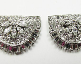 Beautiful Vintage 1930s Rhodium Plated Art Deco Clear Rhinestone Dress Clips
