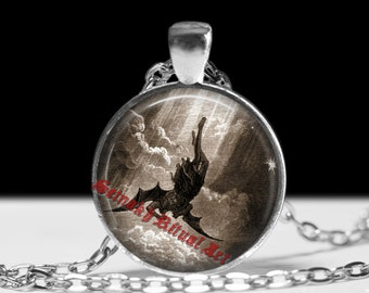 Lucifer the Fallen Angel by Dore Gustav pendant, Lucifer amulet, Luciferian, satanic jewelry, occult necklace #34