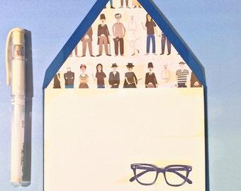 Navy Blue Glasses Stationery Set