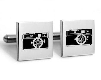 Vintage camera cuff links, bicycle, retro cufflinks, hipster cuff links