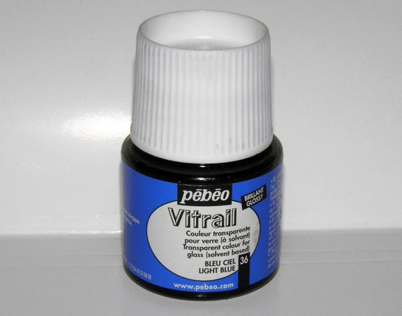 Pebeo vitrail 36 light blue color imitation of stained for Solvent based glass paint