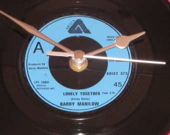 """Barry Manilow lonely together7"""" vinyl record clock"""